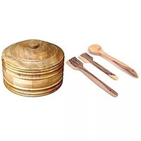 Wooden Antique Handcrafted 1 Chapati Box, 3 Cooking Spoon