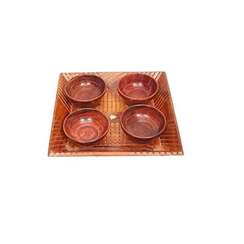 Shoppee Handicrafts Designed Brown 1 Tray with 4 Bowls Wood Carvings