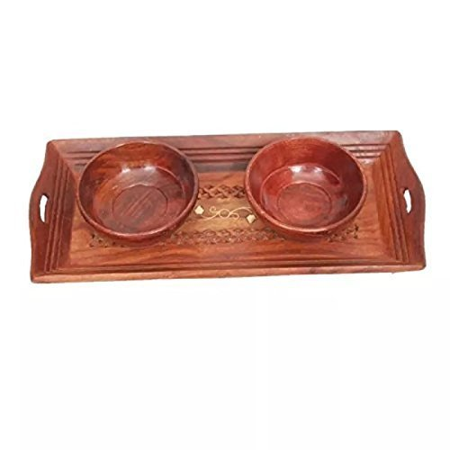 Handicrafts Designed Brown 1 Tray with 2 Bowls Wood Carvings