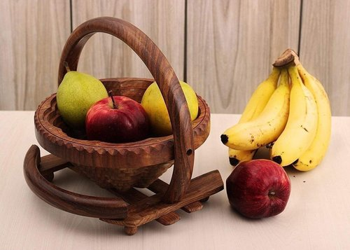 Wooden Fruit Basket/Foldable Basket/Handcrafted for Dining Table