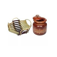 Wooden Tea Coffee Sugar Bowls With Brass Work For Home & Kitchen, Wooden Bamboo Fruit & Vegetable Basket