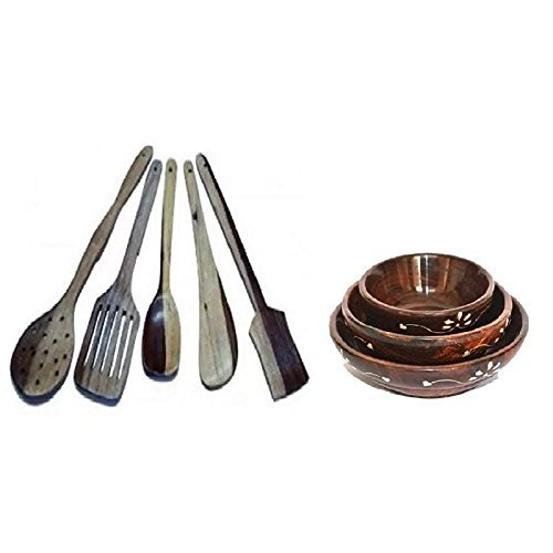 Handicrafts Wooden Bowl Set of 3, Spoon Set of 5 | 1 Frying, 1 Serving, 1 Spatula, 1 Chapati Spoon, 1 Desert