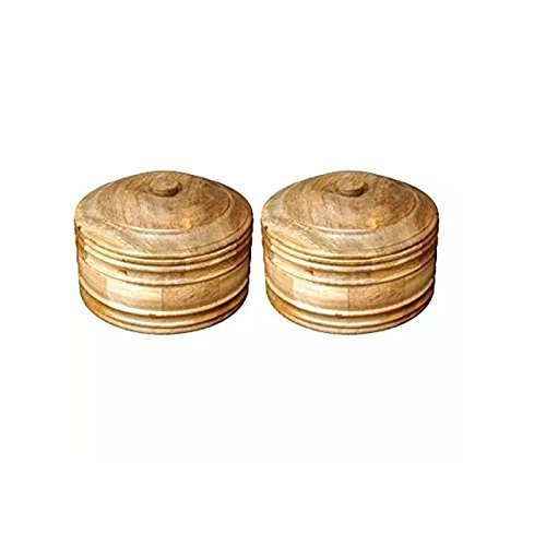 Wooden Antique Handcrafted Chapati Box, Pack of 2