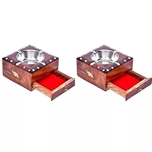 Wooden Brass Inlay Ashtray + CIG. Case, Pack of 2