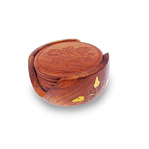 Wooden Tea/Coffee Coaster Set Brass Flower Design Carved Handicraft Gift Item
