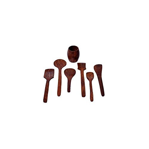 Wooden Six Spatula Set with Spatula Stand