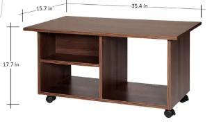 Wooden Center table Inner Rack and Wheels