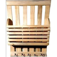 Wooden Beautiful Wooden Wall Rack With 5 Key Holder Size (Lxbxh-9x2.5x5.5) Inchbrown Butter Milk Griender