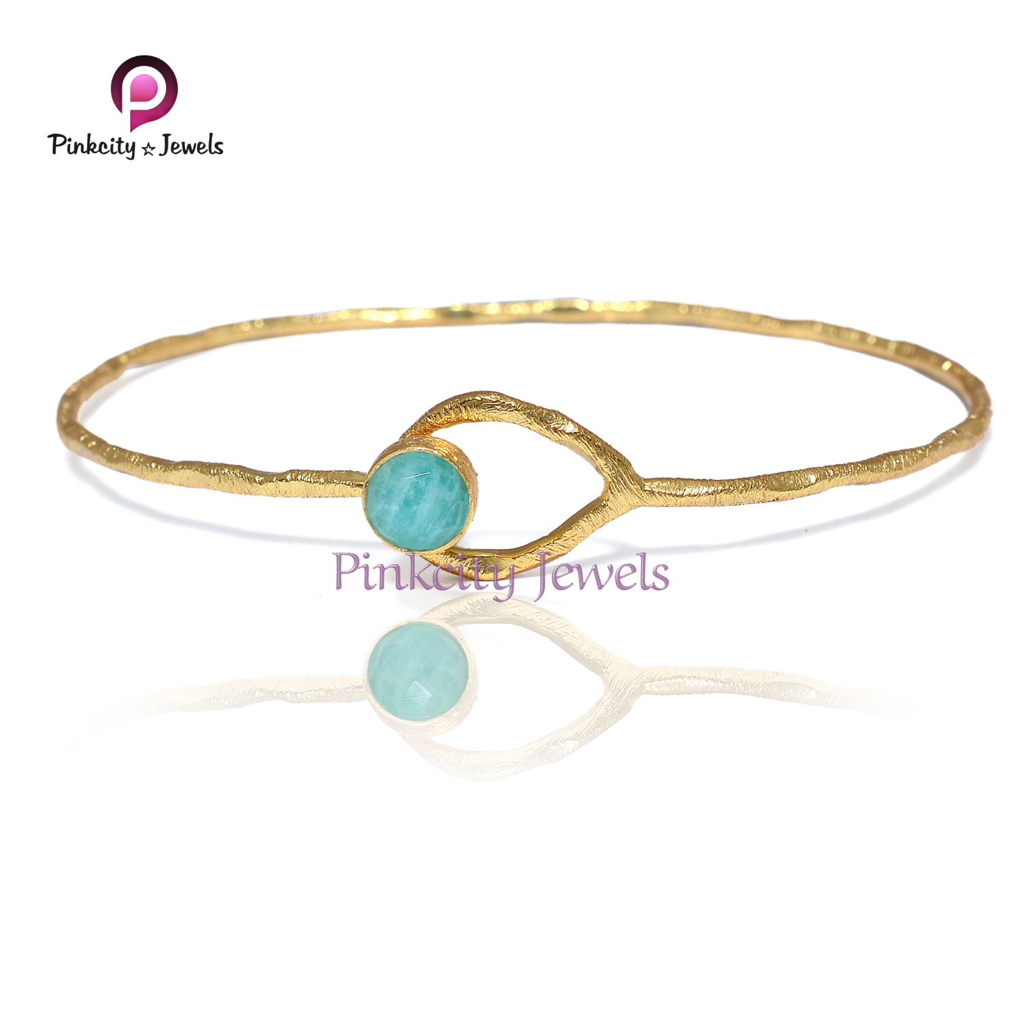 Natural Amazonite 925 Silver Bangle