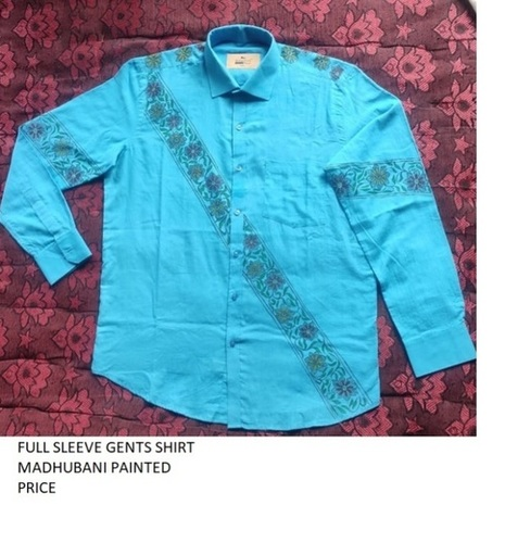 100% Cotton Hand Painted Mithila Painted Full Shirt