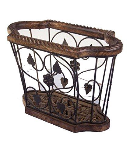 Wood & Iron Magazine Holder (Black, 14X7X10 inch)