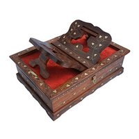 Wooden Hand Carved Holy Books Stand and Box with Brass Work for Quran,Bible,Gita,Ved,Guru Granth Sahib