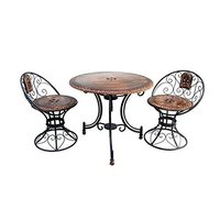Wooden & Iron Carved,Decorative Foolding Table with 2 Chair Set