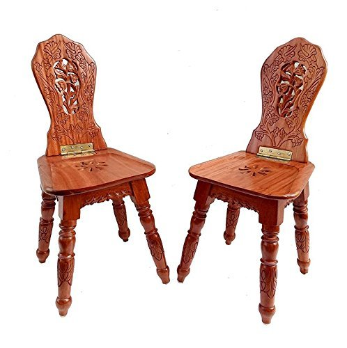Handicraft Wooden Folding Chairs- for Living Room Decor and Gifts (Pack of 2)
