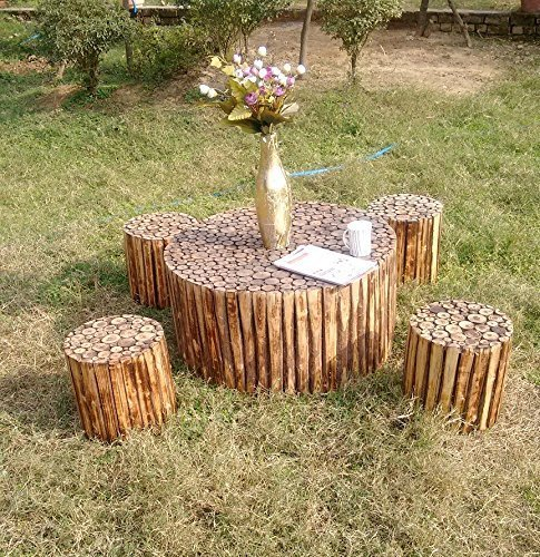 Wooden Round Shape Coffee Table with 4 Stools (Table Size 30x30x16 inch, Stool Size 12x12x12 inch) by Worthy Shoppee