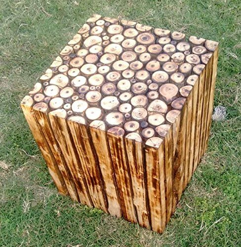 Wooden Square Shape Stool/Chair Natural Wood Blocks (16 inch)