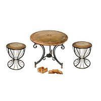 Furniture Miniature Living Room Foldable Table with Set of 2 Antique Traditional Wooden Stool for Home/Office/Garden
