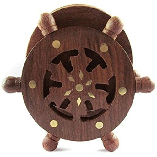 Wooden Coaster Set Designed in Ship Wheel (Brown, 4 inch)