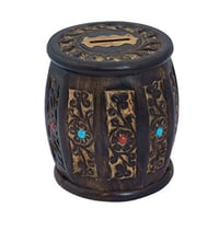 Beautiful Wooden Barrel Shape Money Bank with Carving Design.