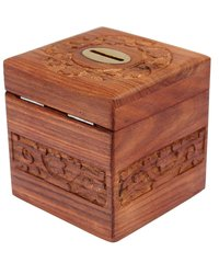 Wooden Square Piggy Bank for Money and Coins for Kids - Multi Color