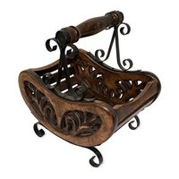 Wooden & Iron Table Decor Magazine Holder/Rack Size (LxBxH-28x20x30) cm