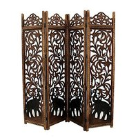 Home Decor Hand-Crafted 4-Panel Room Partition (Brown)