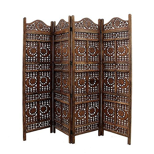 Handcrafted Home Décor 4 Panel Room Partition (Brown)