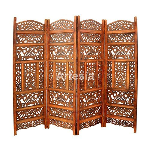 Home Décor Handcrafted 4 Panel Premium Quality Wooden Room Partition/Wooden Room Divider/Wooden Screen/Wooden Room Seperator