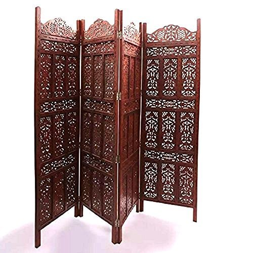 Wooden Partition Foldable Home Décor Room Partition/Screen/Dividers,4 Panels to be Placed in Zig Zag Position Size: 72