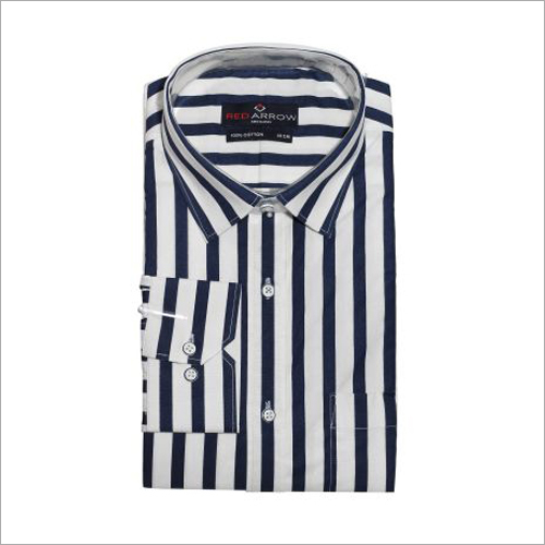 Blue And White Striped Cotton Semi Formal Shirts