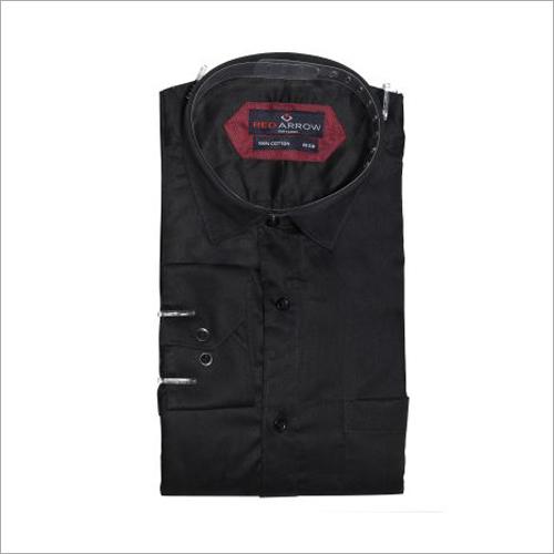 Black Cotton Satin Formal Shirts
