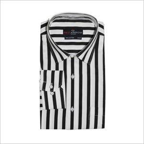 Black And White Striped Cotton Semi Formal Shirts