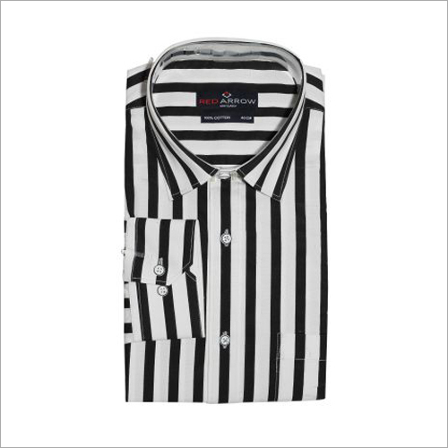 Black And White Striped Cotton Semi Formal Shirts