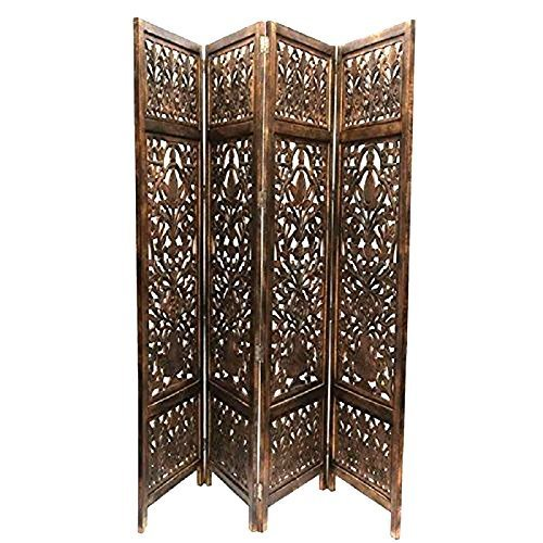 Home Décor Wooden Partition Foldable Room Partition/Screen/Dividers,4 Panels to be Placed in Zig Zag Position Size: 72