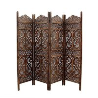 Handcrafted Home Décor Home Decor 4-Panel Wooden Room Partition (Brown)