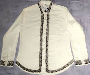 Women Solid Formal Spread Shirt Hand Painted