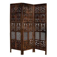 Floriferous 3 Panel Handcrafted Wooden Partition/Room Divider