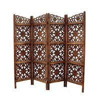 Handcrafted 4 Panel Home Decor Room Partition (Brown)