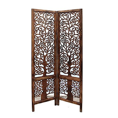 Handcrafted Wooden 2 Panel Room Divider Home Décor Partition Screen (Brown)