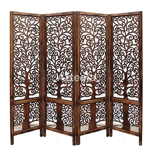 Handcrafted Home Décor 4 Panel Premium Quality Wooden Room Partition/Wooden Room Divider/Wooden Screen/Wooden Room Seperator