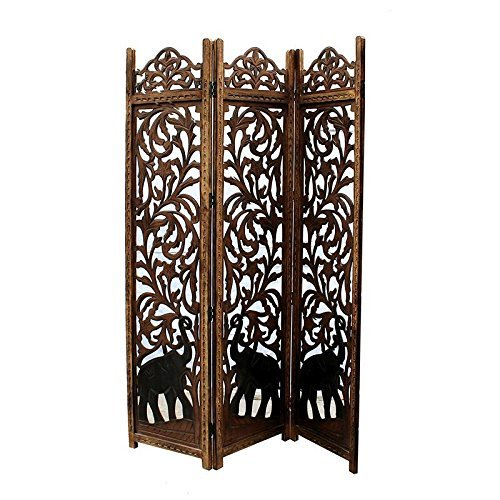 Handcrafted Home Decor 3-Panel Wooden Room Partition (Brown