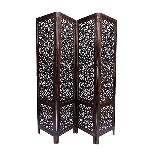 Home DecorHandcrafted 4 Panel Room Partition (Brown)