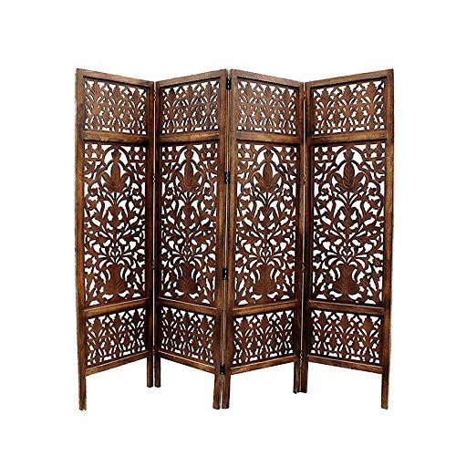 Home Décor Handcrafted 4 Panel Room Partition (Brown)