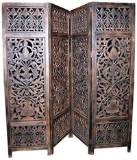 Home Decor Handcrafted 4 Panel Room Partition (Brown)