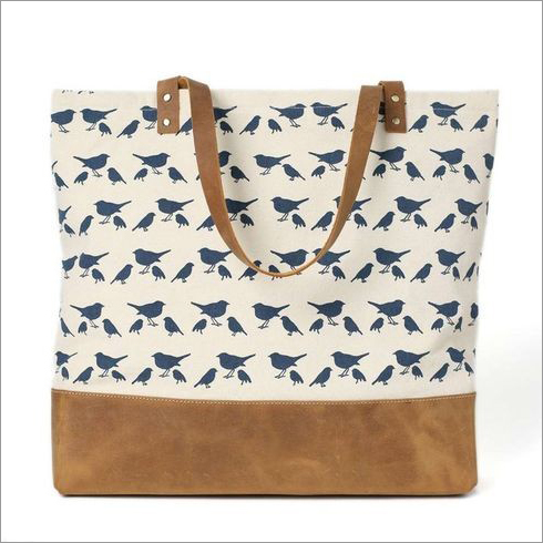 Ladies Leather Canvas Bag