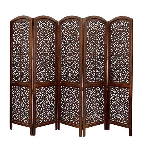 Home Décor Handcrafted 5 Panel Room Partition (Brown)