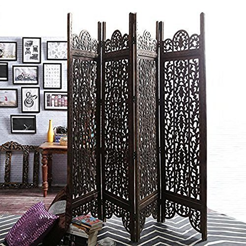 Handcrafted Home Decor 4 Panel Room Partition (Brown)