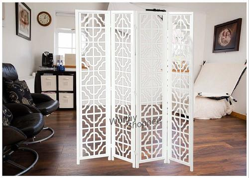 4 Panel Wooden Partition for Your Home Kitchen Office White