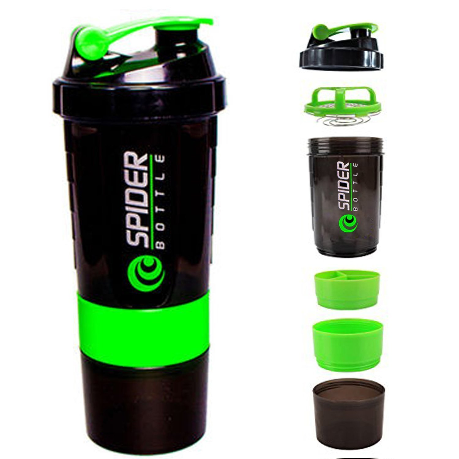 Spider Protein Shaker Bottle for Gym - 500ml (Multi Colour Will Be Shipped)