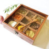 Wooden Utility/Masala Box Spice Box - Sheesham Wood Spice Box Container - Spice Box Holder(1pc wooden spoon Free)